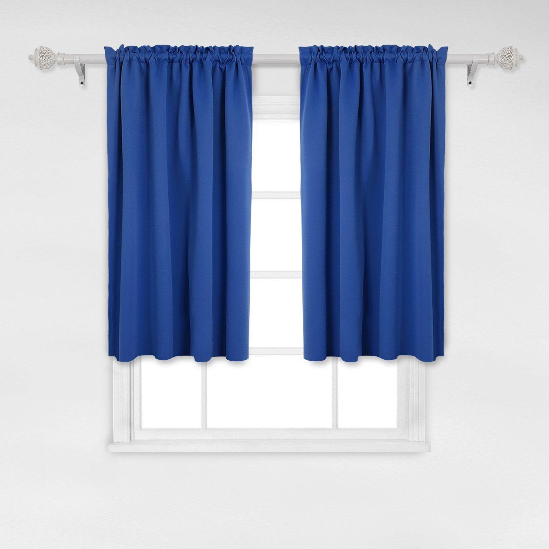 Deconovo Royal Blue Blackout Curtains Rod Pocket Curtain Panels