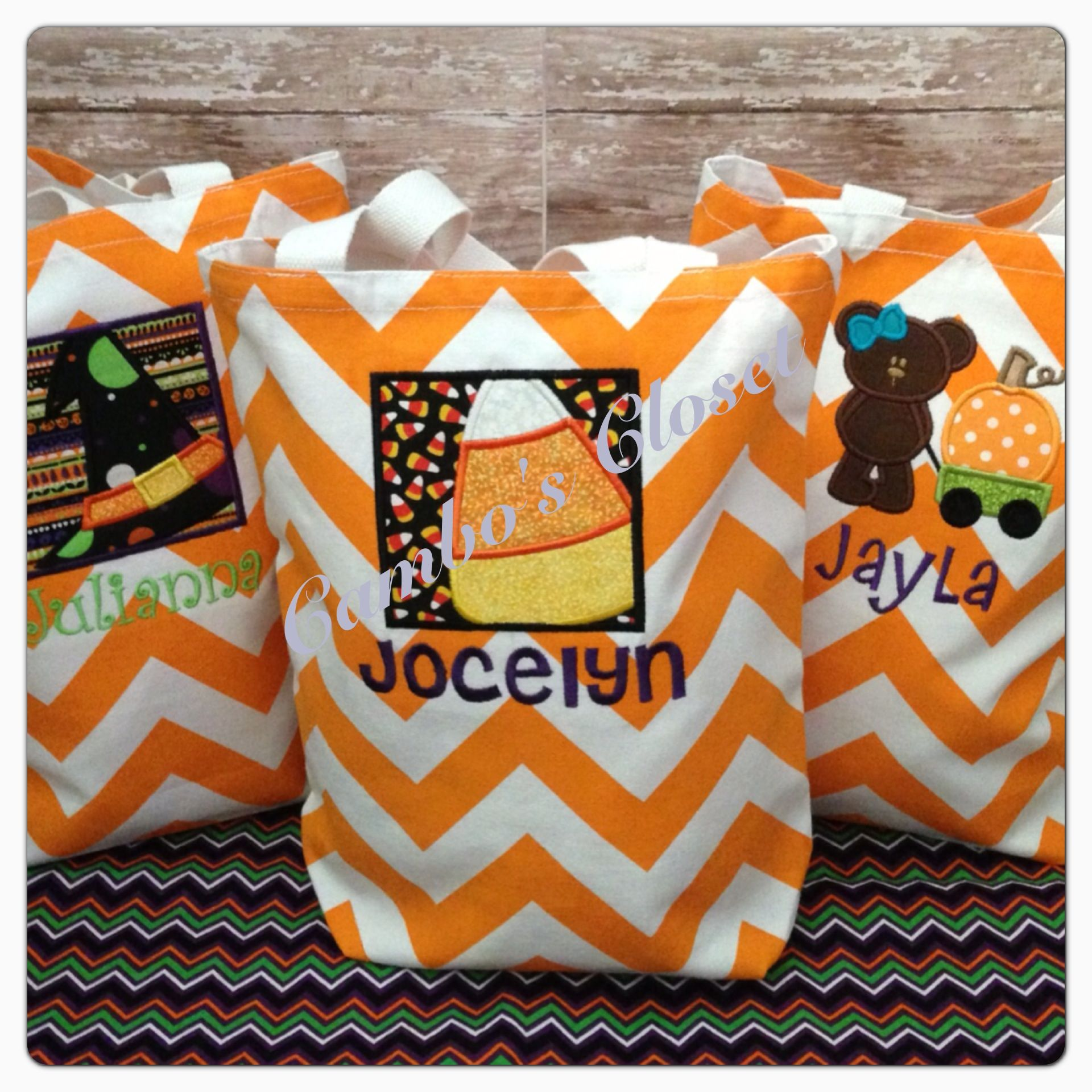 Trick or treat bags. Contact camboscloset@gmail.com or like us on Facebook