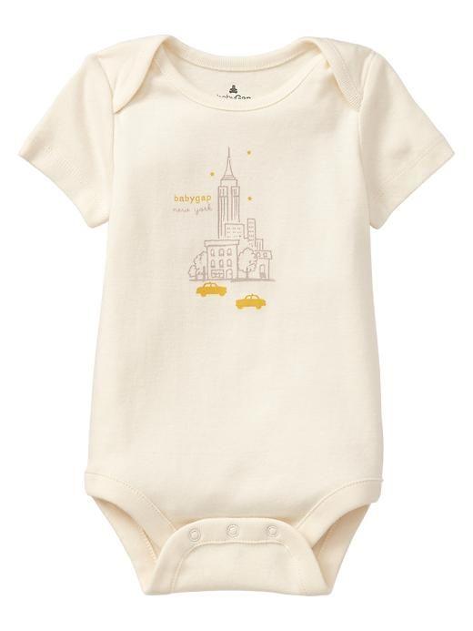 d77fe891d Adorable Cream Baby Gap New York Short Sleeve Onesie - Sweet Onesies ...