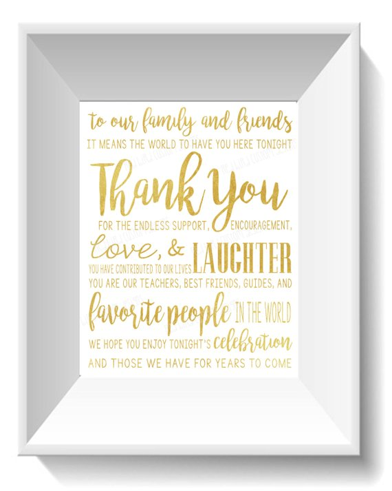 Wedding - Thank You for Friends and Family Quote Gold ...