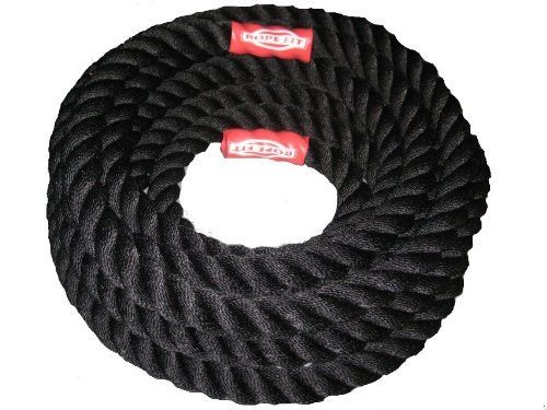 """Rope Fit 1.5"""" & 2"""" Black Poly Dacron Battle Rope... Rope Fit... Rope Fit 1.5"""" & 2"""" Black Poly Dacron Battle Rope... Battle Fitness Exercise Rope... Battle Ropes for Strength Training Cross Fit Exercises Workout... Jump Ropes... Training Ropes... Rope Fit offers affordable, high quality, poly dacron rope, manufactured in the USA. Battle ropes are hands down the best fat burning, muscle building piece of fitness equipment on the market."""