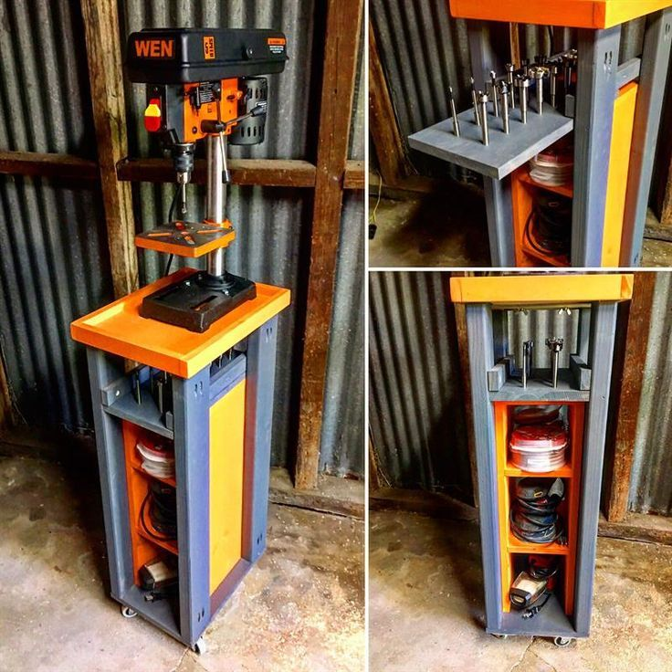 Rolling Drill Press Cart with additional storage for power