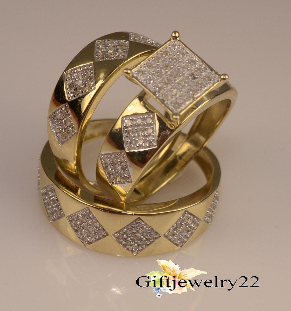 Yellow Gold Over Lab Diamond Bridal Engagement Ring His And Her