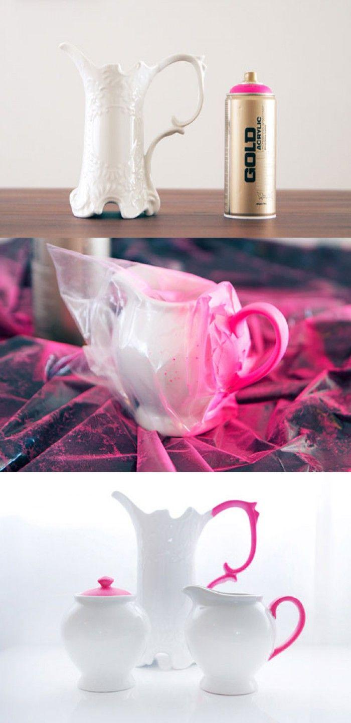 porzellan artikel mit spr hfarbe versch nern tolle bastelideen diy basteln kreativ und. Black Bedroom Furniture Sets. Home Design Ideas