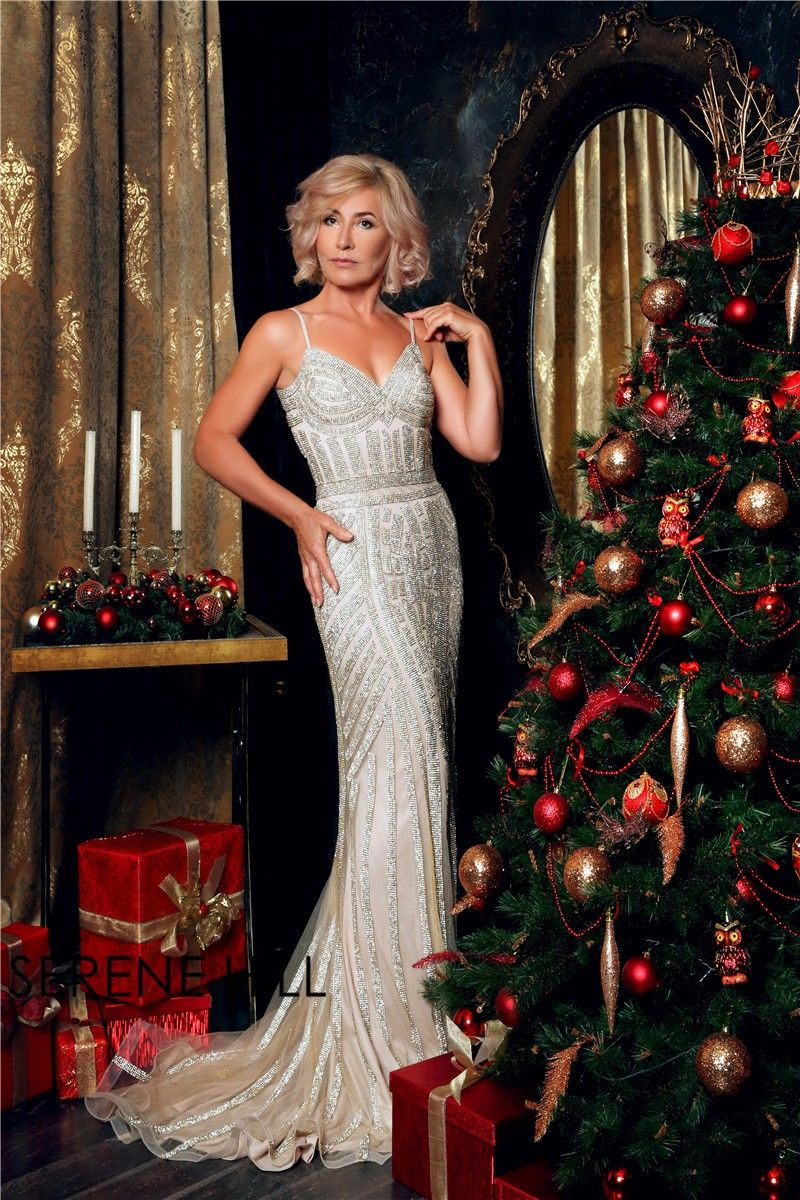 Luxury dubai spaghetti straps mermaid evening dresses new