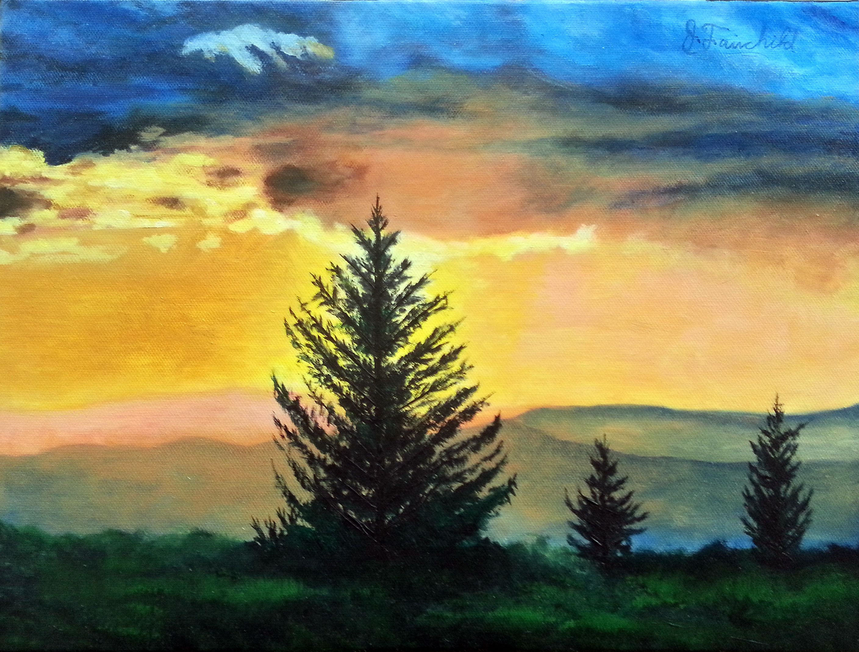 Sunrise Mountain Original Oil By James Fairchild 16x12 On Sale