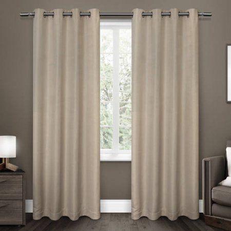 Melrose Woven Blackout Grommet-Top Window Curtain Panels, Set of 2, Beige