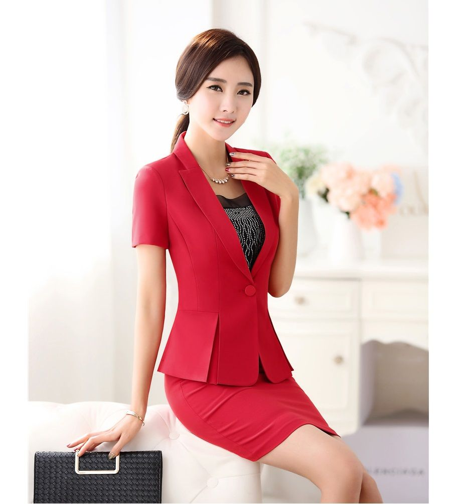 c77120f65e75 Summer Ladies Red Blazer Women Business Suits Formal Office Suits Work  Short Sleeve Skirt and Jacket Sets Elegant OL Style-in Skirt Suits from  Women s ...