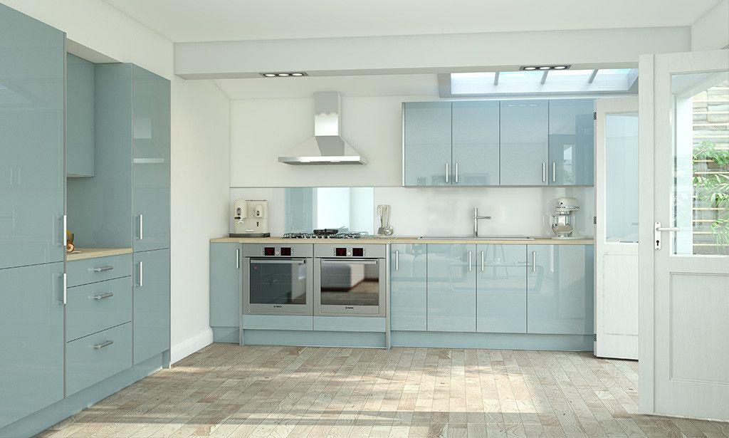 Wren Kitchens Pacrylic Blue Quartz Gloss Kitchen Image 1