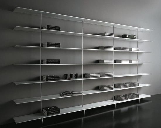 Wall Shelving System In Extruded Aluminium And Upright Tubes Are