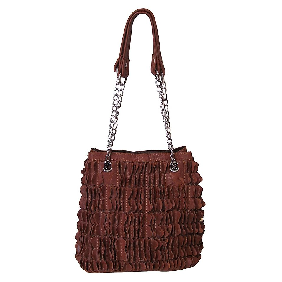 Amerileather Papillon Leather Shoulder Bag In Brow