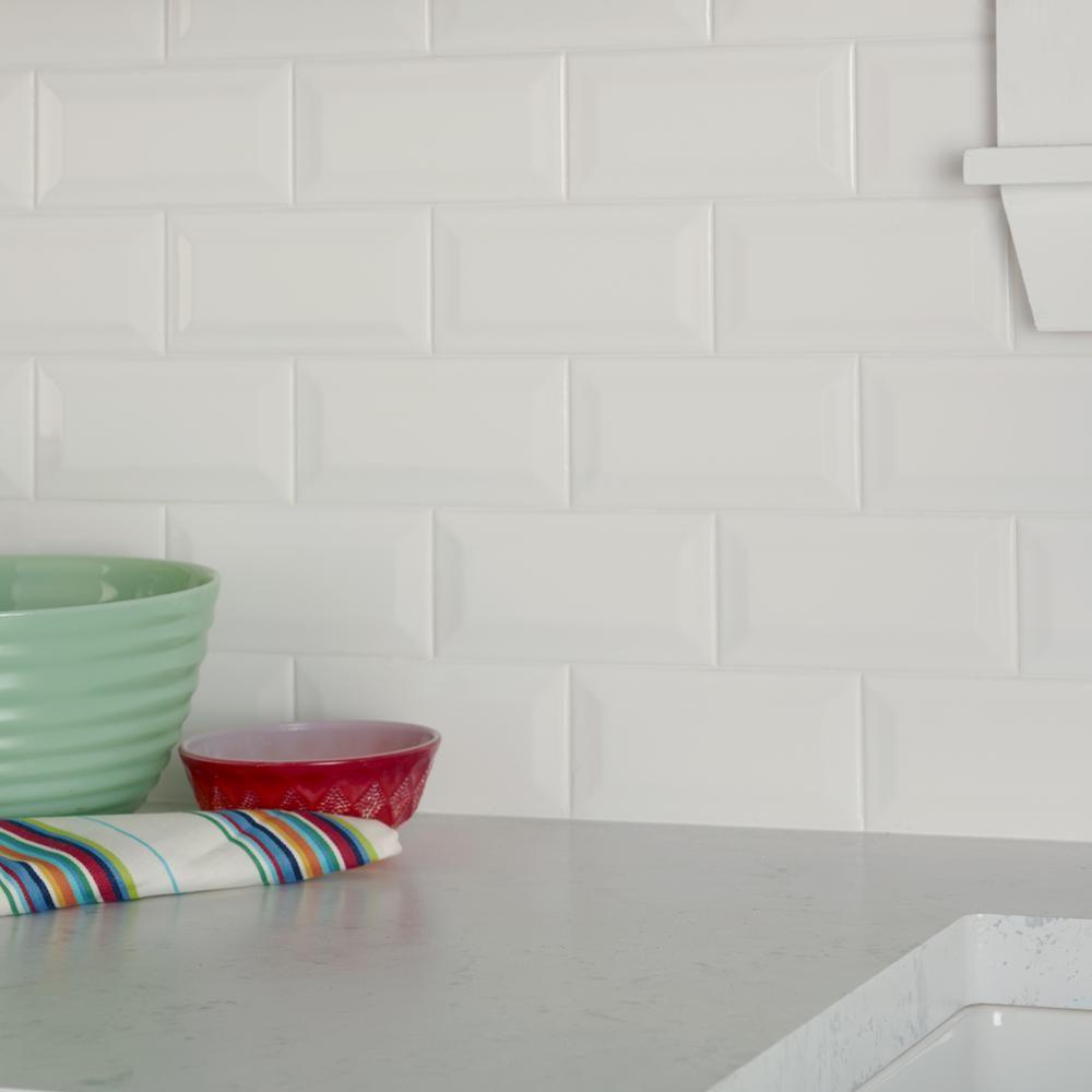 Daltile restore 3 in x 6 in ceramic bevel bright white
