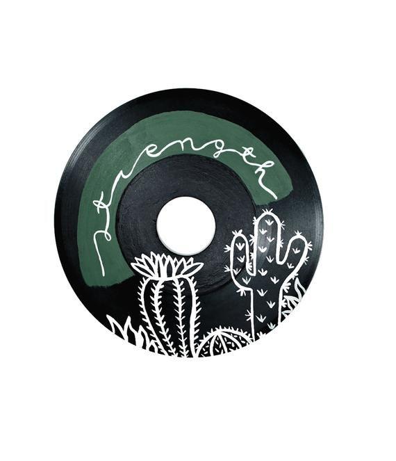 Painted Vinyl Record Strength Decor Retro Art Succulent Cactus Art Record Art Hippie Decor Boho Art Mothers Day Gift Music Lover Art In 2020 Record Art Record Wall Art Vinyl Record Art