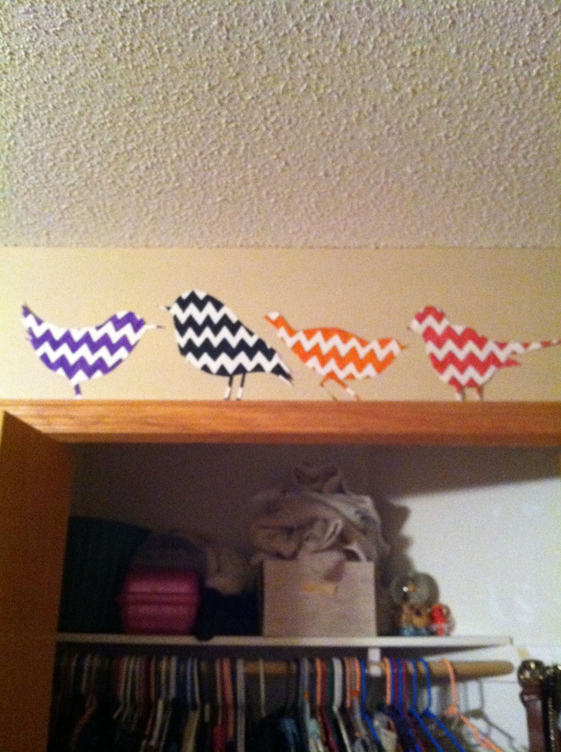 Chevron stripe bird cutouts