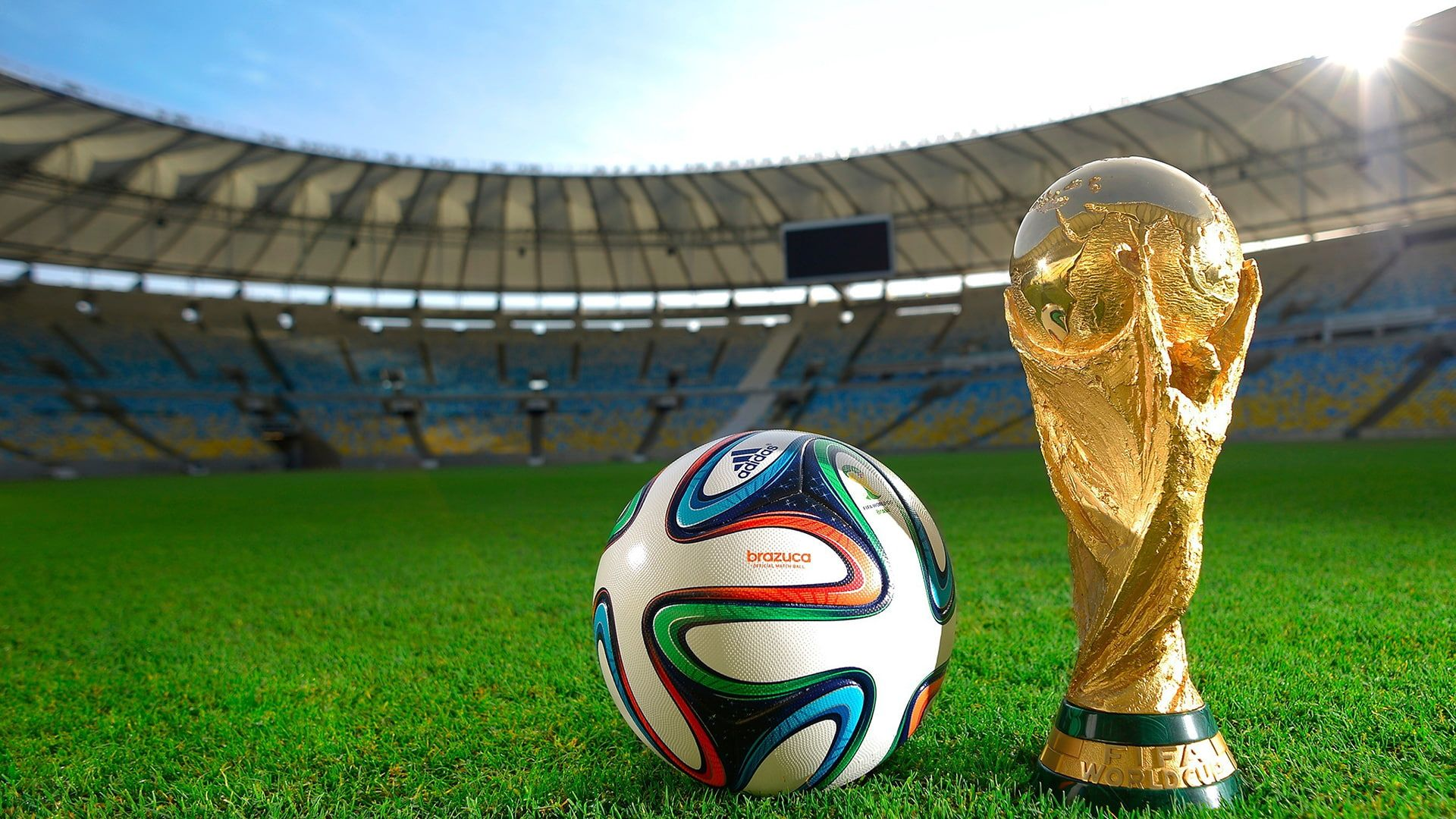 World Cup Soccer Football Trophy Grass Ball Hd Sports Grass Football World Soccer Ball Cup Trophy 1080p Wall In 2020 Soccer Fifa World Cup World Cup Stadiums