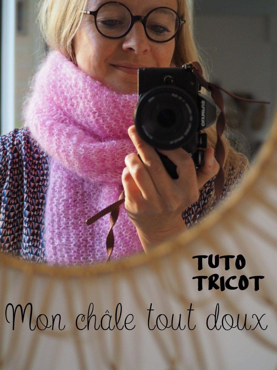 Un chèche tout doux tout doux - Tuto tricot réalisé en partenariat avec La légende du Mohair #chechetutocouture