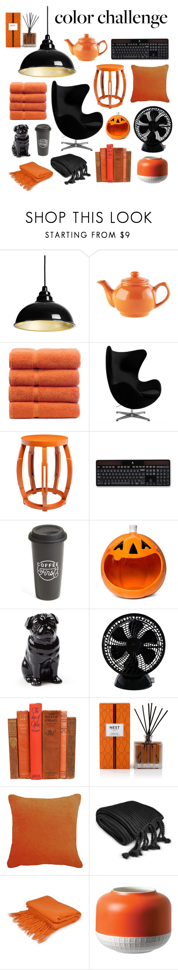"""""""Colour Challenge : Orange & Black"""" by chocolatecupcakes545 ❤ liked on Polyvore featuring interior, interiors, interior design, home, home decor, interior decorating, Price & Kensington, Bungalow 5, Logitech and The Created Co."""