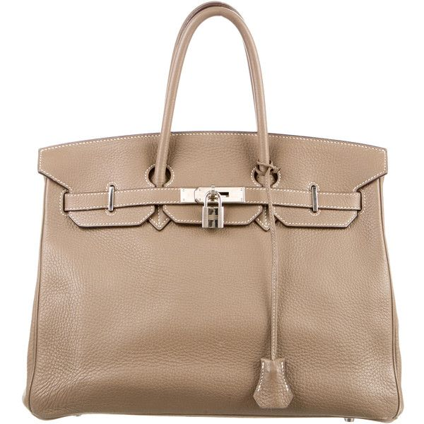 Pre-owned Herm?s Clemence Birkin 35 ($8,700) ❤ liked on Polyvore featuring bags, handbags, brown, beige handbags, handbag purse, beige leather purse, hermes handbags and leather purses