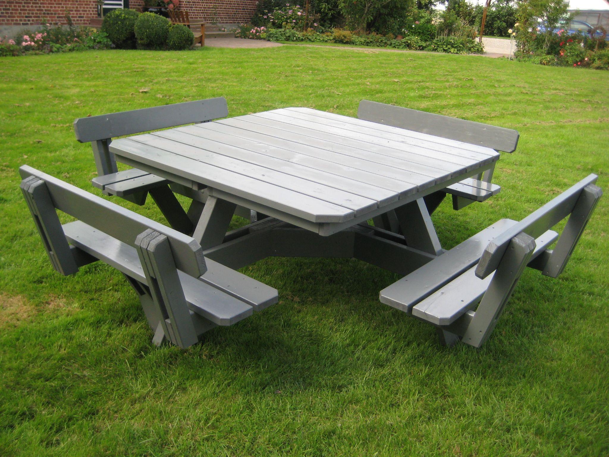 Eckiger Gartentisch Mit 8 Festmontieren Sitzplatzen Und