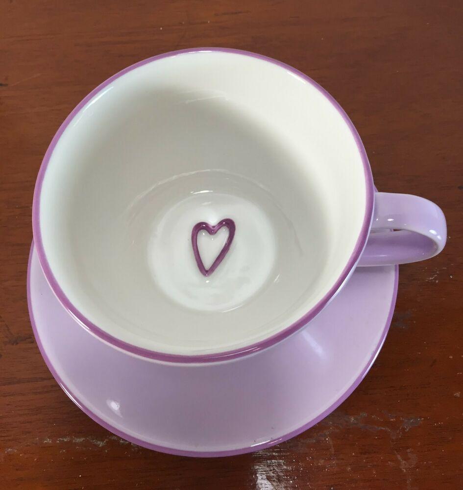 Starbucks Lavender Heart Large Cup Saucer 2006 Coffee Tea