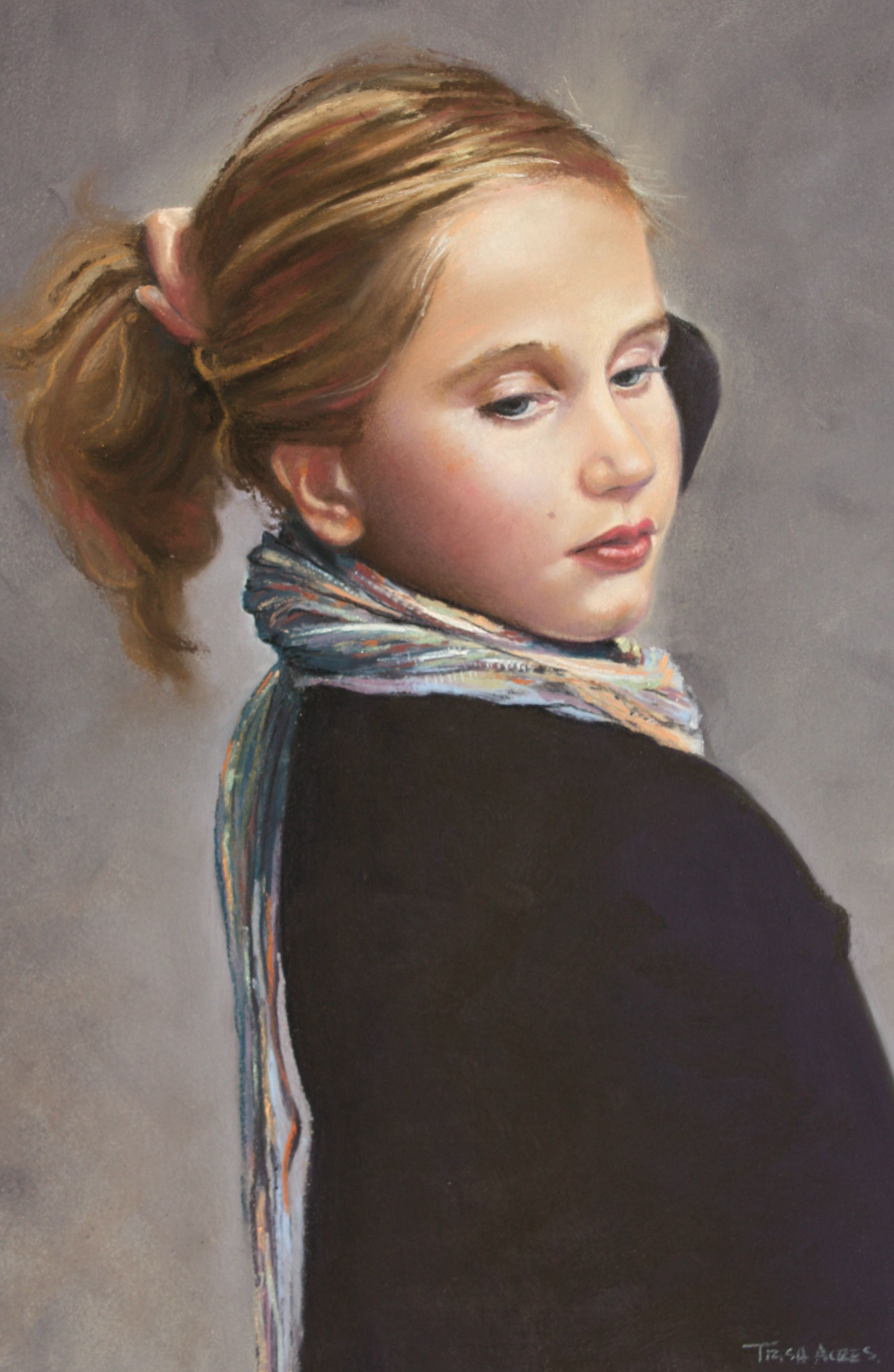 Girl with Scarf by Trish Acres