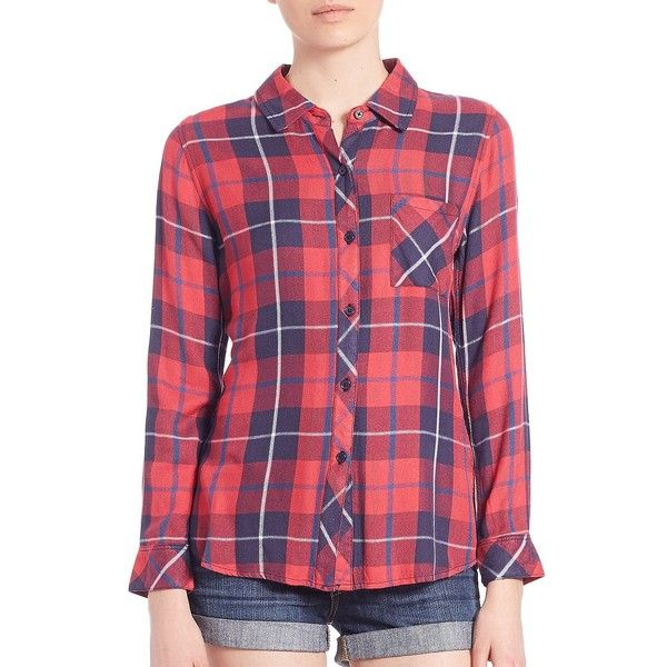 Rails Plaid Checked Shirt ($155) ❤ liked on Polyvore featuring tops, apparel & accessories, long sleeve tops, long sleeve shirts, button front shirt, plaid shirt and purple plaid shirt