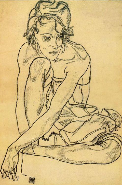 Egon Schiele, Kniendes Mädchen ( Crouching Woman), 1918