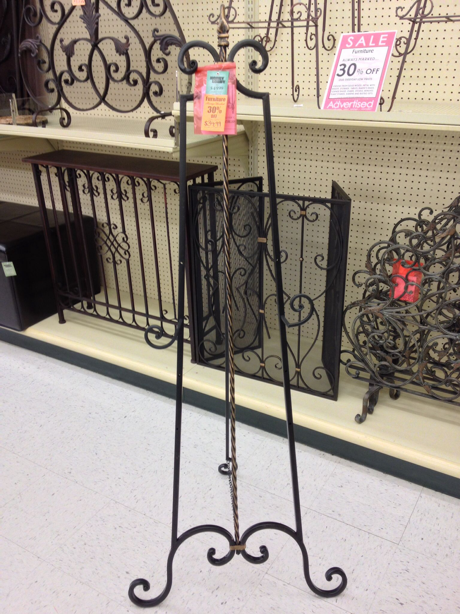 hobby lobby black metal easel to add like a 24 X 30 some correct