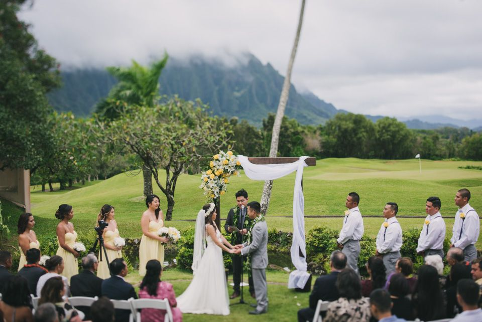 Hawaii Wedding Koolau Ballrooms Ceremony Flower Crown Lei Flowers