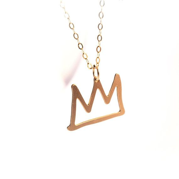 4667c22f7 Crown Tiny Pendant Necklace Jewelry Gold Filled Sterling Silver Necklace  King Crown Queen Fashion Basquiat Small Design Art Jewelry Princess