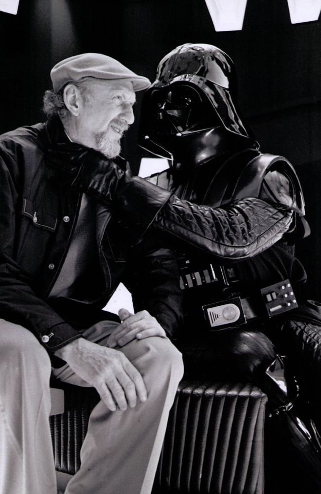 Behind the scenes with David Prowse as Darth Vader and director Irvin Kershner on the set of Star Wars: The Empire Strikes Back