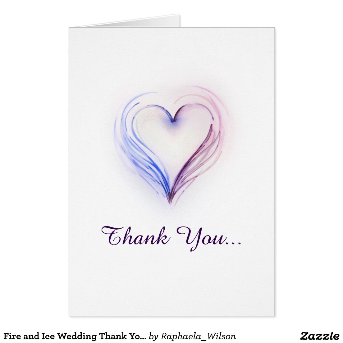 Fire and Ice Wedding Thank You Card Heart Note | Fire and Ice Theme ...