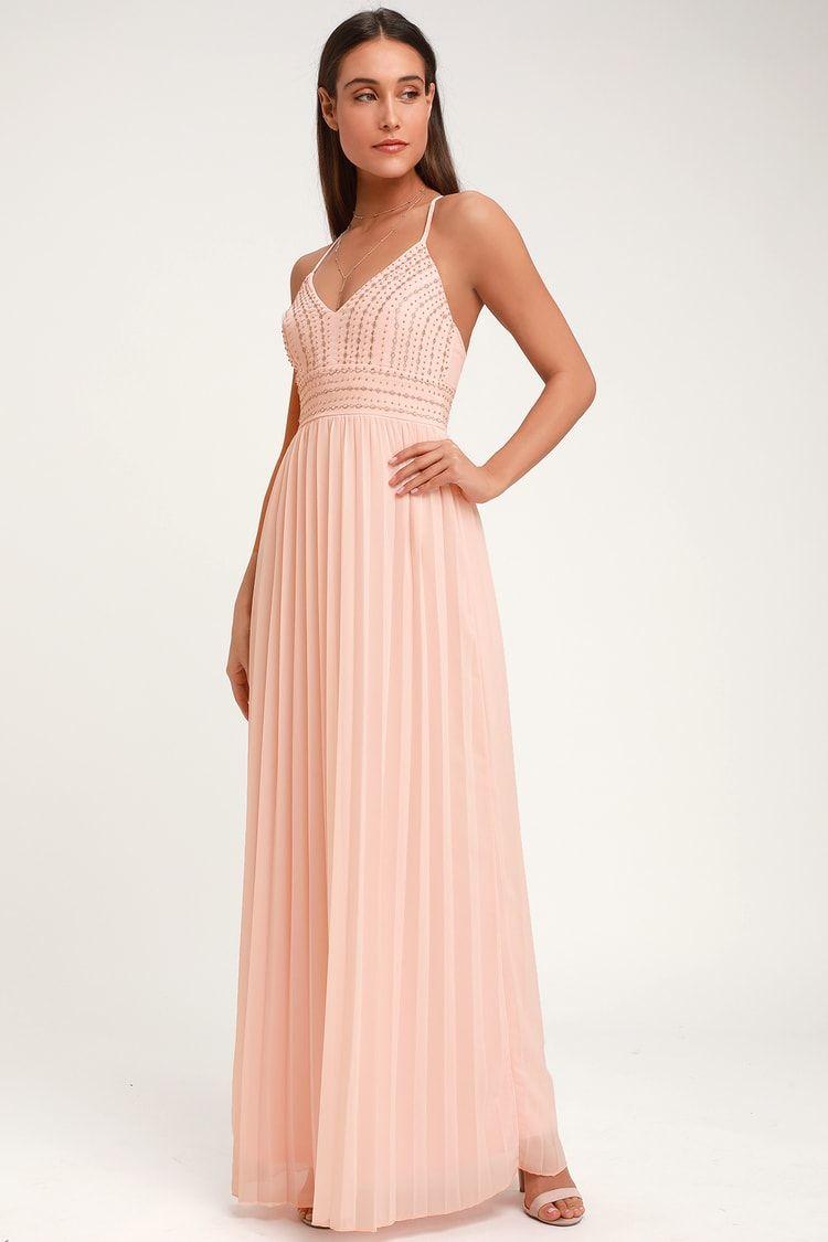 45dbdb0b415 Glamorous Gala Blush Pink Embroidered Maxi Dress