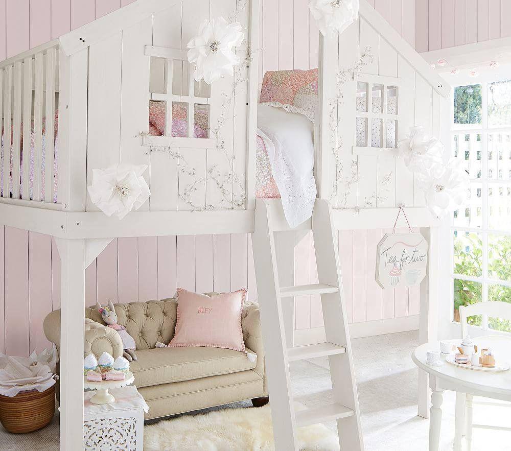 Pottery Barn Girls loft bed, Treehouse loft bed, Tree