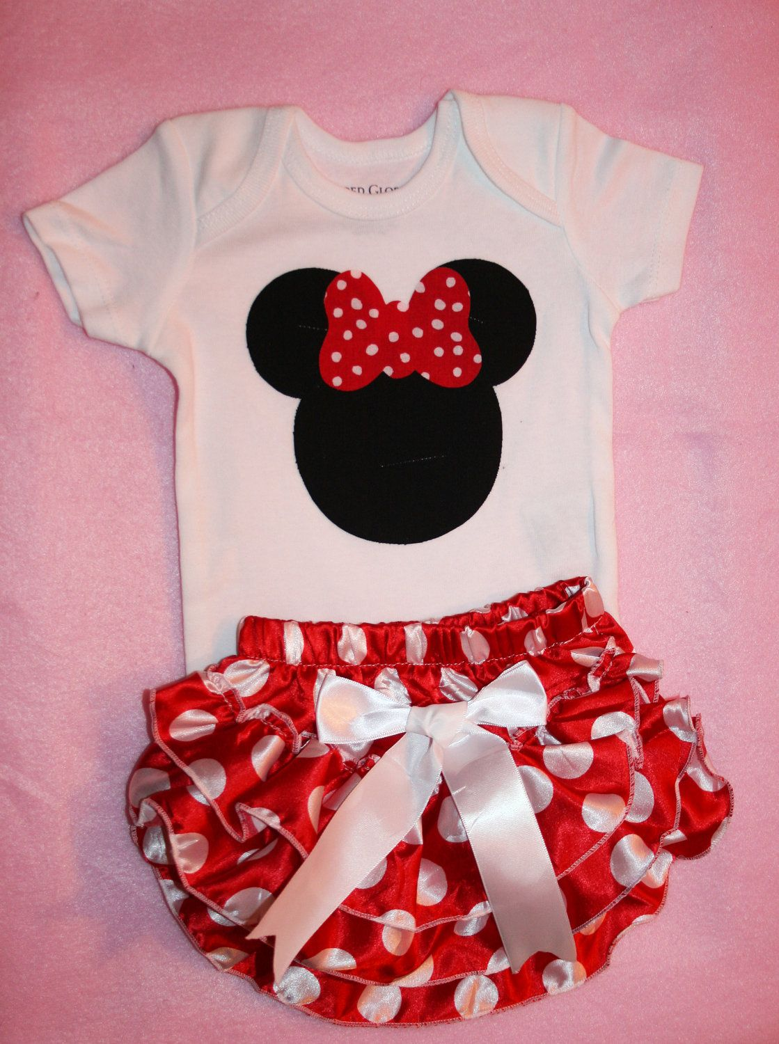 3187cc949 Minnie Mouse Baby Girl Outfit Onesie and Matching by itsyglam, $33.00