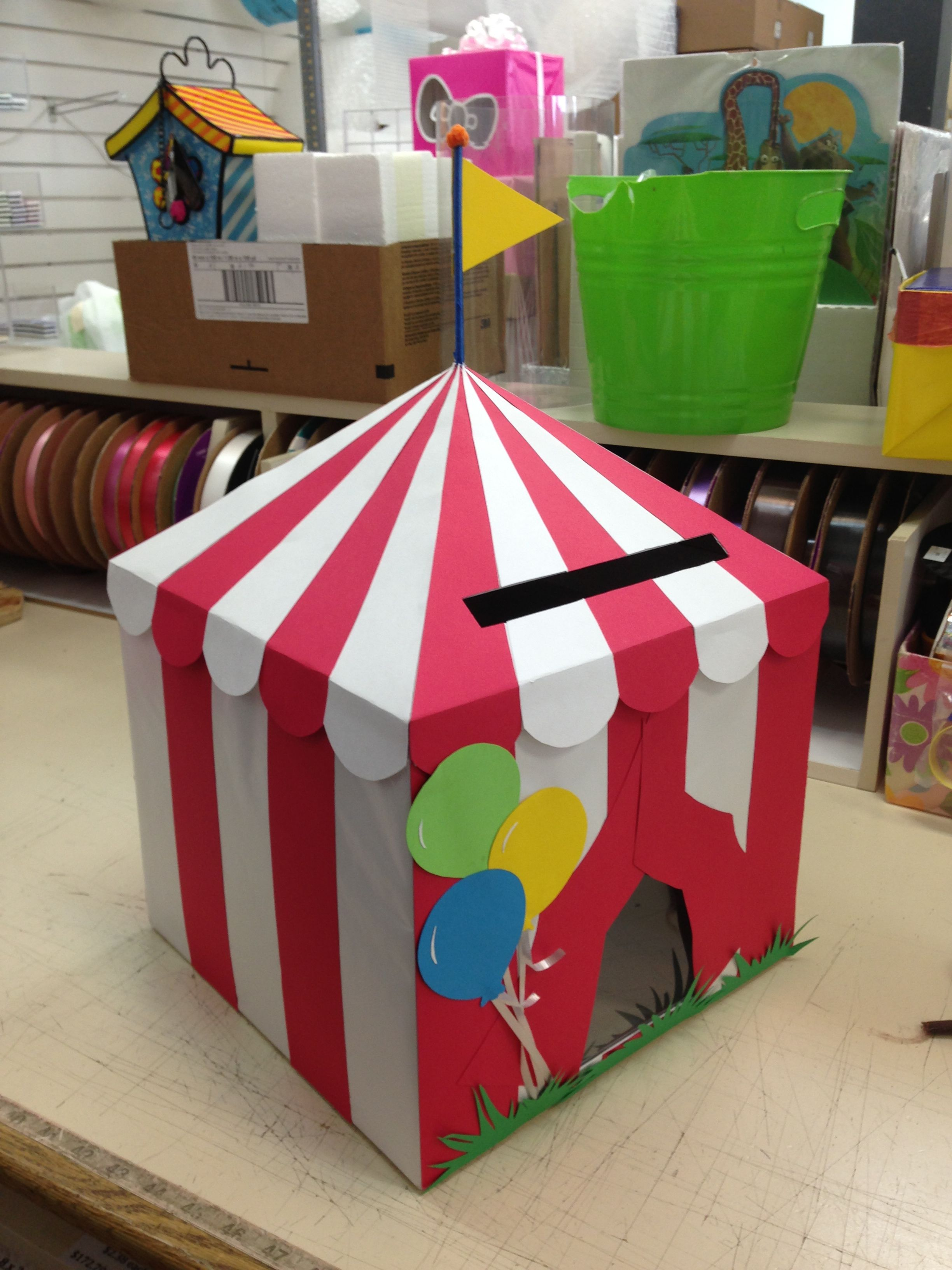 Diy Circus Card Box Birthday Party Card Box Birthday Party Invitations Diy Circus Birthday Party Decorations