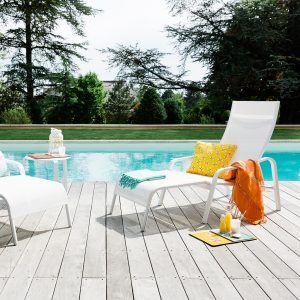Jardin Terrasse En Bois Teck Sur Piscine Jardin Avec Arbre Chaise