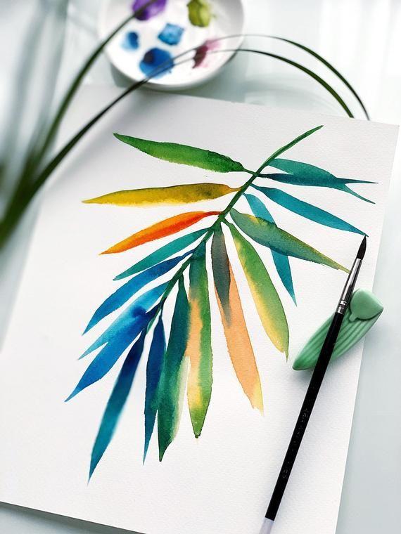 Watercolor art print Palm branch   Etsy #easywatercolorpaintings