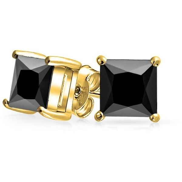 Bling Jewelry Square Cz Princess Cut Simulated Onyx Stud Earrings Gold 21