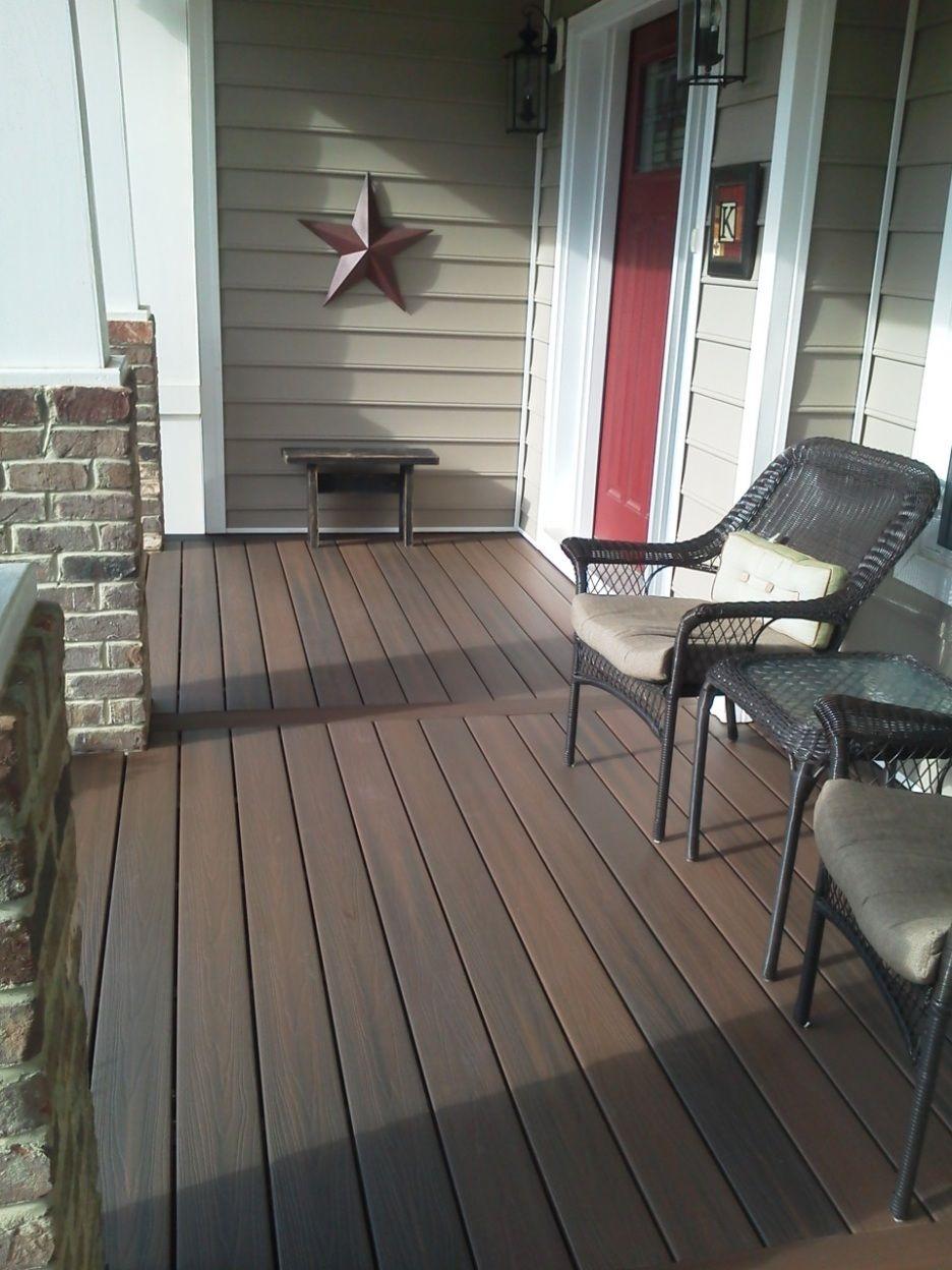 Exterior, : Front Porch Flooring Ideas With Dark Brown ...
