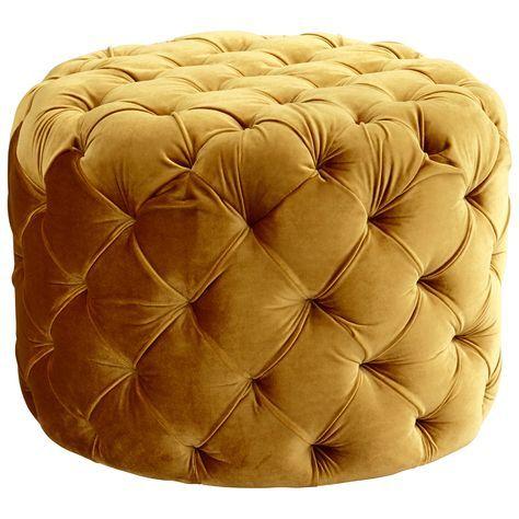 Audrey Tufted Velvet Ottoman Stool Round Tufted Ottoman Gold
