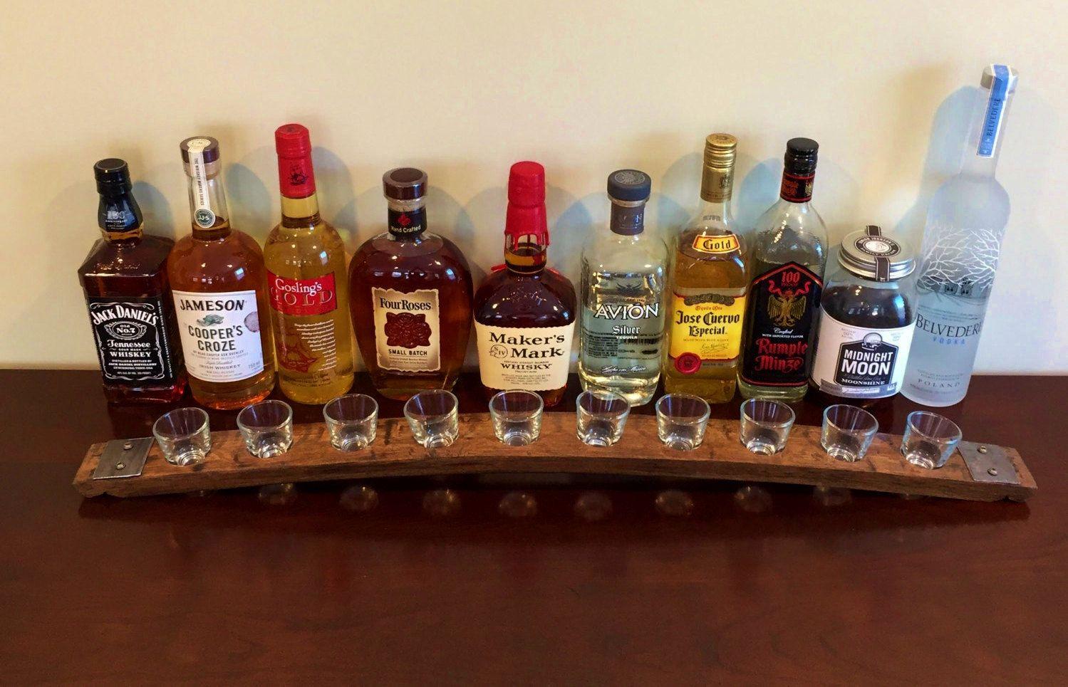 Shot Glass Flight Tray Made From Reclaimed Whiskey Bourbon