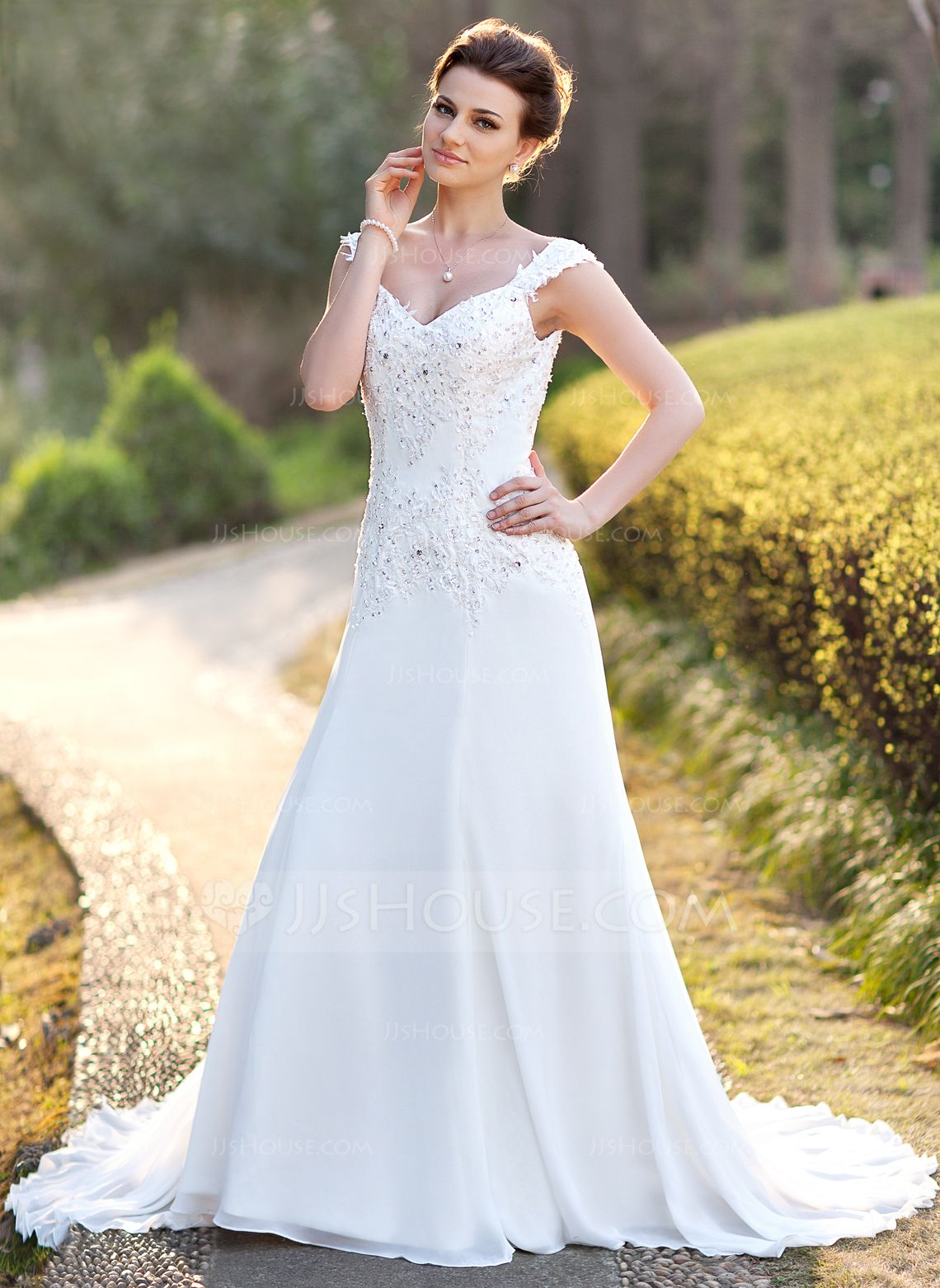 Outdoor summer wedding dresses  ALinePrincess Vneck Court Train Chiffon Wedding Dress With Lace