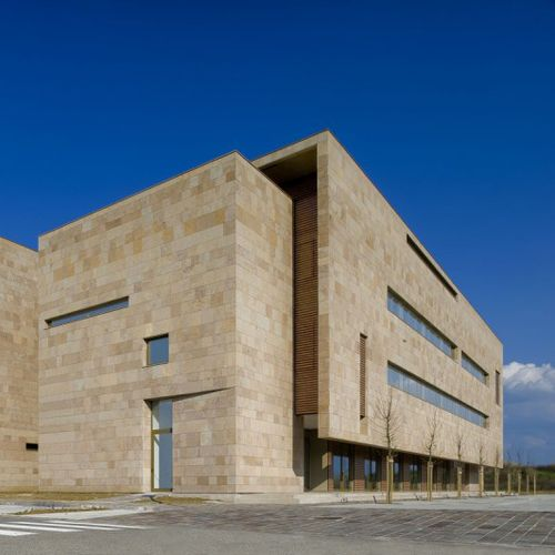 Futuristic building realized with SANTAFIORA FIORITA stone.... only from our quarries in Tuscany Italy