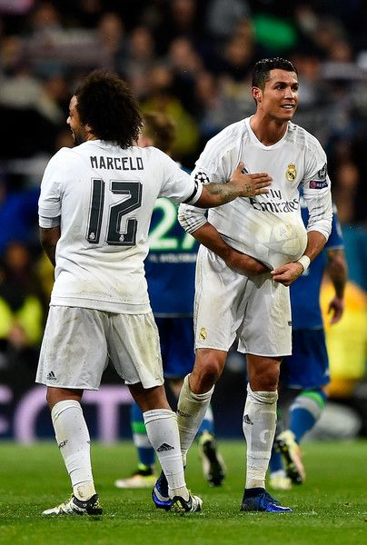 2d7eb7865f5 Marcelo Cristiano Ronaldo Photos Photos - Hat trick scorer Cristiano Ronaldo  of Real Madrid celebrates victory and reaching the semi finals with Marcelo  ...