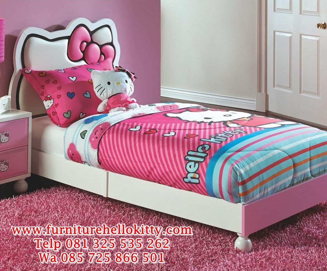 desain tempat tidur hello kitty, bentuk set kamar tidur hello kitty