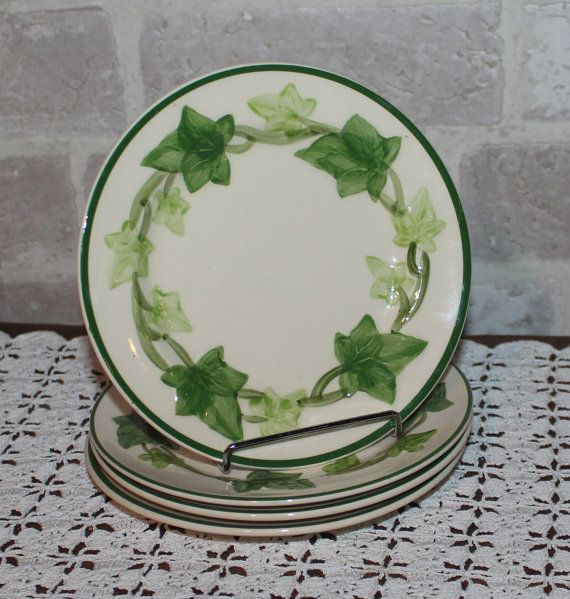 Franciscan Ivy bread plates set of 4 for your green Ivy decor Ivy dinnerware dishes California hand painted Pottery & Franciscan Ivy bread plates set of 4 for your green Ivy decor Ivy ...