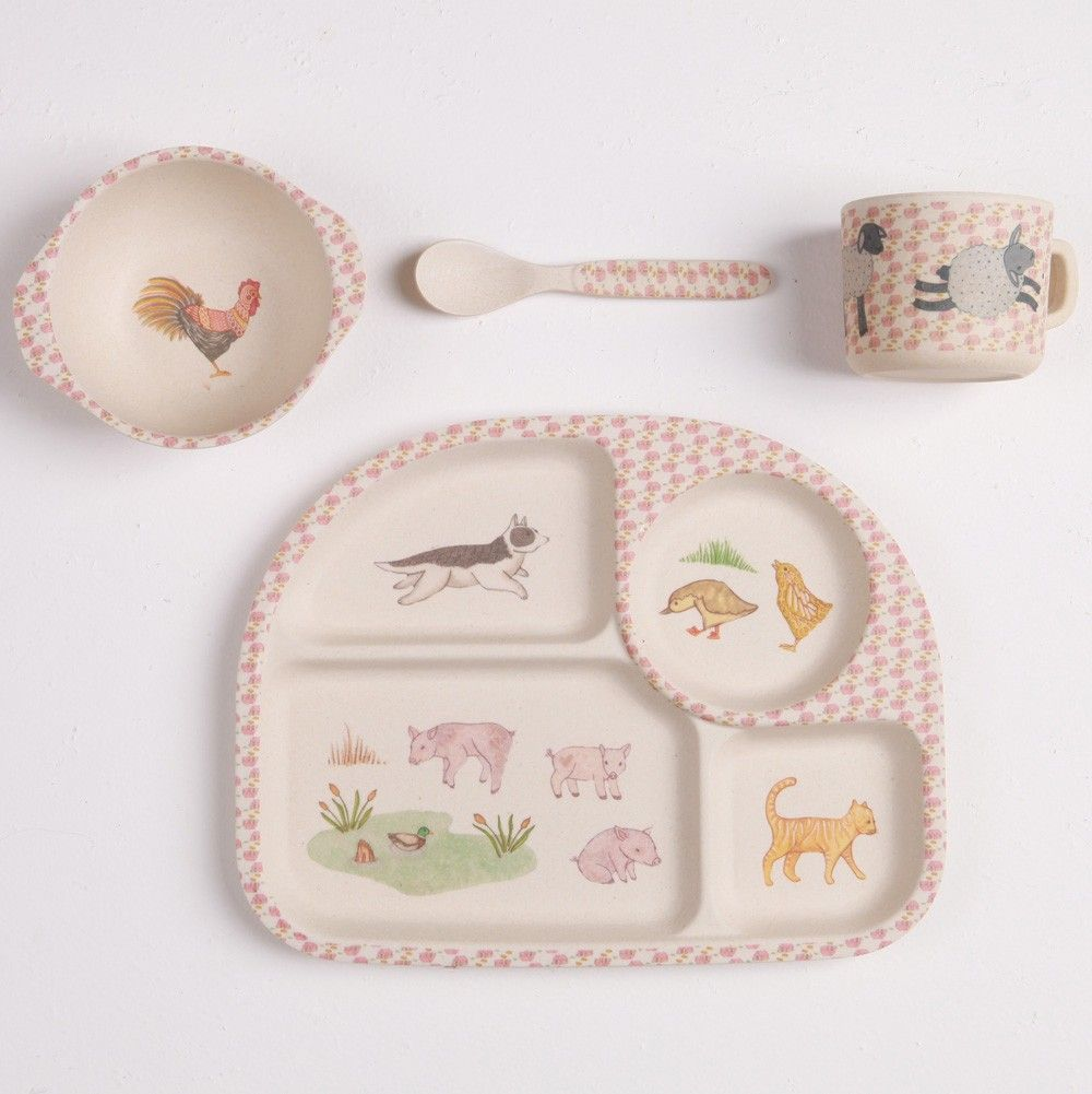 Bamboo Dinner Set With Divided Plate Farmyard Feast Bamboo Dinnerware Shop Kids Dinnerware Kids Plates Set Kids Plates