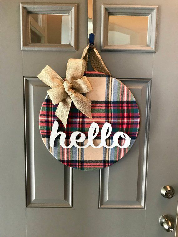 Fall Door Decoration, Front Door Wreath, Winter Wreath, Fall Door Hanger, Fall Wreath, Front Door Decor, Hello, Plaid Decor, Wood Door Sign #fallwreaths