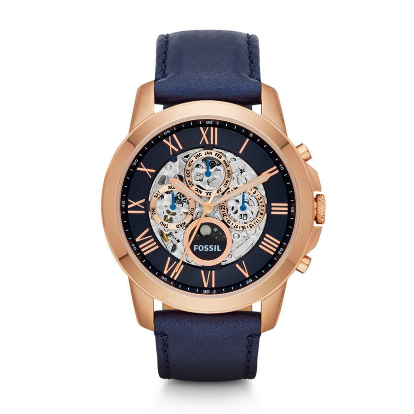 New Fossil Men Watch 21 Jewel Grant Blue Leather Automatic Rose Gold Case Me3029 Fossil Watches For Men Fossil Watches Skeleton Watches